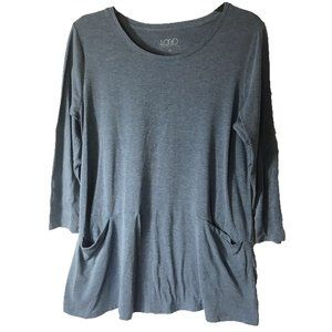 LOGO 3/4 Sleeve Blue Swing Tunic Top with Pockets